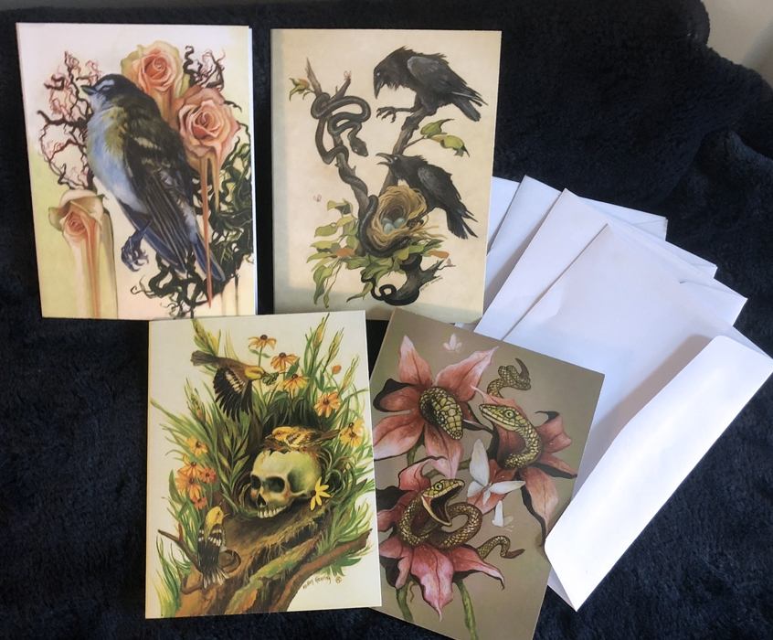 Set of 4 Note Cards, Birds Snakes Sulls and Nature mix 4.5 x 5.5 Comic Art