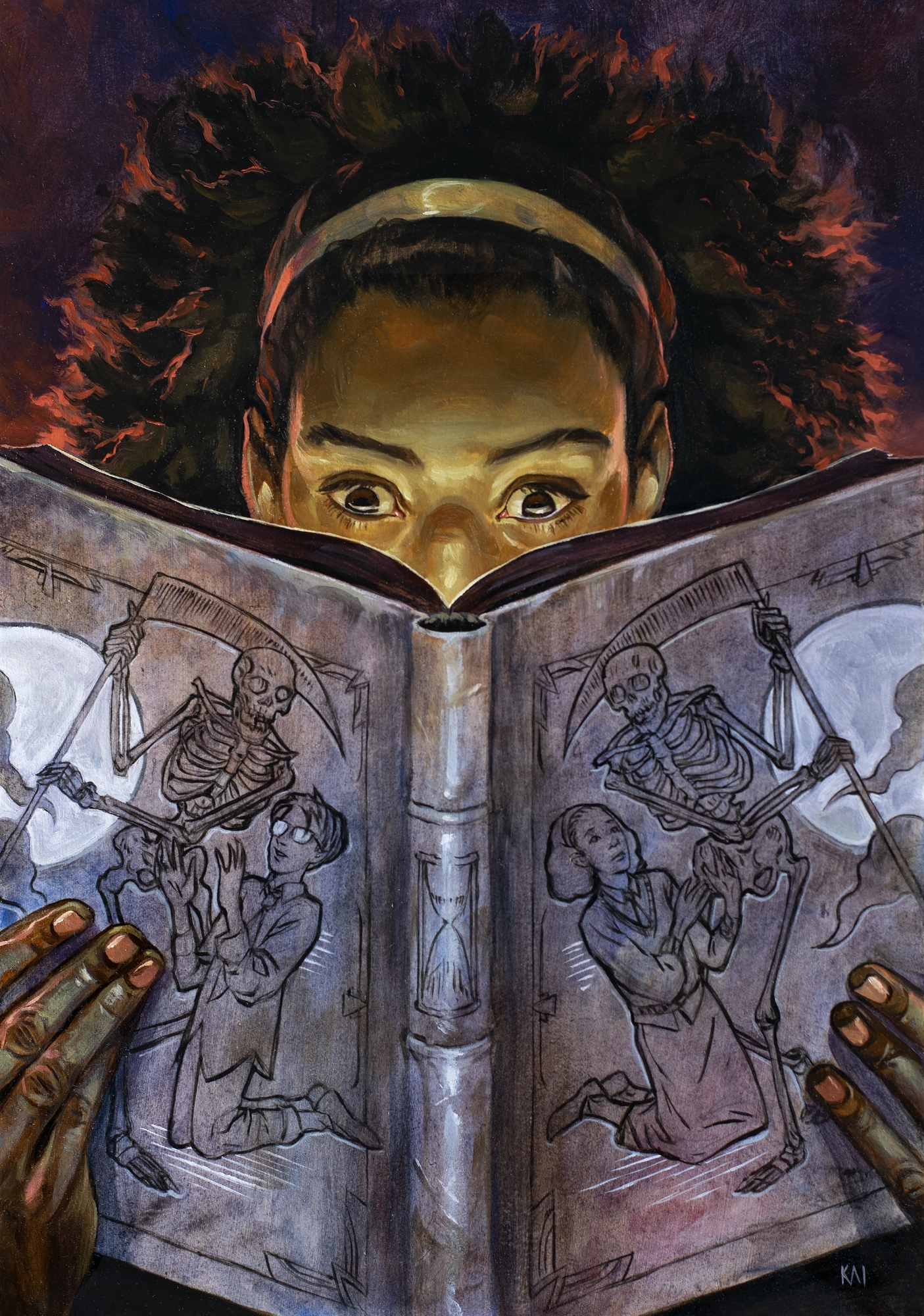 Books of Magic issue #22 cover painting Comic Art
