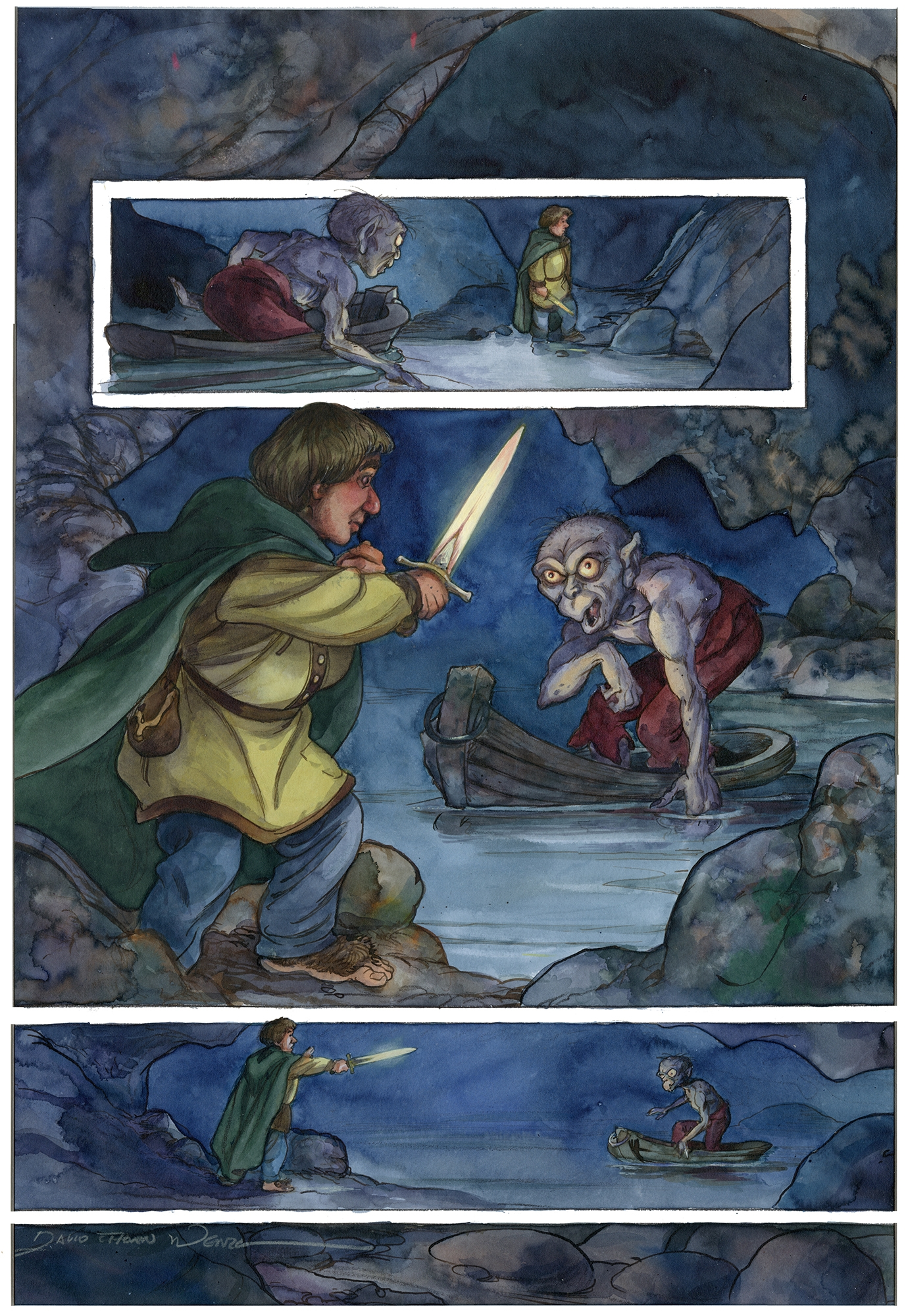 Gollum Creeps In, Page 43 The Hobbit Graphic Novel Comic Art