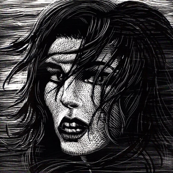 Hurricane - Original Scratchboard Art Comic Art