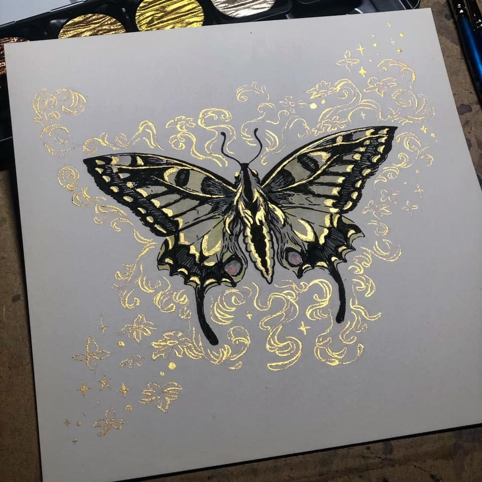 Gilded Order: Anise Swallowtail - Original Painting Comic Art